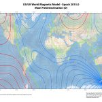 "Isogonenkarte 2015. Quelle: NOAA ""World Magnetic Model""."